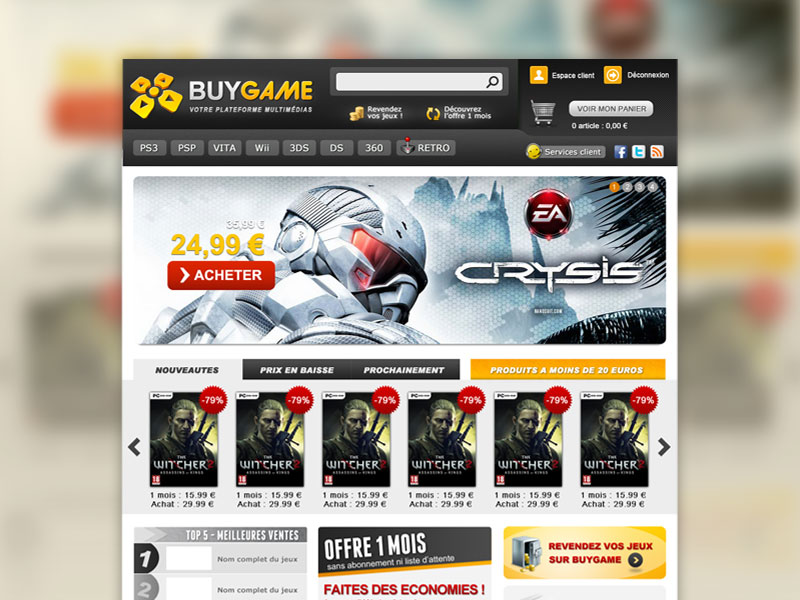 Maquette web Buygame